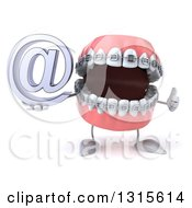 Clipart Of A 3d Metal Mouth Teeth Mascot With Braces Giving A Thumb Up And Holding An Email Arobase At Symbol Royalty Free Illustration
