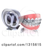 Clipart Of A 3d Metal Mouth Teeth Mascot With Braces Holding Up An Email Arobase At Symbol Royalty Free Illustration