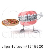 Clipart Of A 3d Metal Mouth Teeth Mascot With Braces Holding Up A Finger And A Pizza Royalty Free Illustration