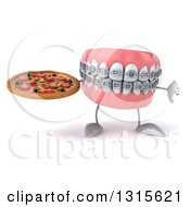 Clipart Of A 3d Metal Mouth Teeth Mascot With Braces Holding A Thumb Down And A Pizza Royalty Free Illustration
