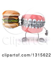 Clipart Of A 3d Metal Mouth Teeth Mascot With Braces Holding A Double Cheeseburger Royalty Free Illustration