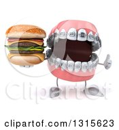 Clipart Of A 3d Metal Mouth Teeth Mascot With Braces Giving A Thumb Up And Holding A Double Cheeseburger Royalty Free Illustration