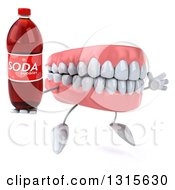 Clipart Of A 3d Mouth Teeth Character Facing Slightly Right Jumping And Holding A Soda Bottle Royalty Free Illustration