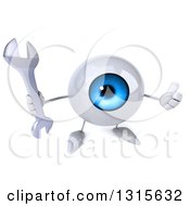 Clipart Of A 3d Blue Eyeball Character Holding Up A Thumb And A Wrench Royalty Free Illustration