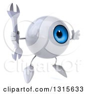 Clipart Of A 3d Blue Eyeball Character Facing Slightly Right Jumping And Holding A Wrench Royalty Free Illustration