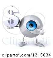 Clipart Of A 3d Blue Eyeball Character Holding And Pointing To A Dollar Symbol Royalty Free Illustration