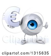 Clipart Of A 3d Blue Eyeball Character Giving A Thumb Up And Holding A Euro Symbol Royalty Free Illustration