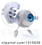 Clipart Of A 3d Blue Eyeball Character Facing Slightly Right Jumping And Holding A Euro Symbol Royalty Free Illustration