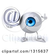Clipart Of A 3d Blue Eyeball Character Holding Up A Finger And An Email Arobase At Symbol Royalty Free Illustration