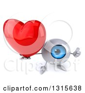 Clipart Of A 3d Blue Eyeball Character Holding Up A Heart And A Thumb Royalty Free Illustration