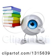 Clipart Of A 3d Blue Eyeball Character Holding And Pointing To A Stack Of Books Royalty Free Illustration