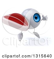 Clipart Of A 3d Blue Eyeball Character Facing Slightly Right Jumping And Holding A Beef Steak Royalty Free Illustration