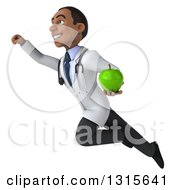 Clipart Of A 3d Young Black Male Nutritionist Doctor Flying To The Left And Holding A Green Apple Royalty Free Illustration