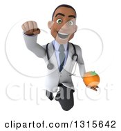 Clipart Of A 3d Young Black Male Nutritionist Doctor Flying With A Navel Orange Royalty Free Illustration