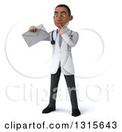 Clipart Of A 3d Young Black Male Doctor Thinking And Holding An Envelope Royalty Free Illustration