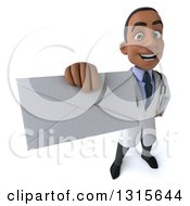 3d Young Black Male Doctor Holding Up An Envelope