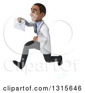 Clipart Of A 3d Young Black Male Doctor Sprinting To The Left And Holding An Envelope Royalty Free Illustration