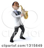 Clipart Of A 3d Young Black Male Doctor Facing Right And Playing A Saxophone Royalty Free Illustration