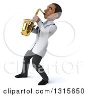 Clipart Of A 3d Young Black Male Doctor Facing Left And Playing A Saxophone Royalty Free Illustration