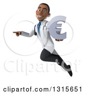 Clipart Of A 3d Young Black Male Doctor Flying Pointing To The Left And Holding A Euro Symbol Royalty Free Illustration