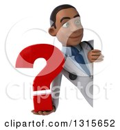 Clipart Of A 3d Young Black Male Doctor Holding A Question Mark Around A Sign Royalty Free Illustration