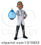 3d Young Black Male Doctor Holding A Water Drop