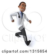 Clipart Of A 3d Young Black Male Doctor Speed Walking Slightly To The Right Royalty Free Illustration