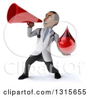 Clipart Of A 3d Young Black Male Phlebotomist Doctor Holding A Blood Drop And Announcing With A Megaphone Royalty Free Illustration