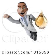 Clipart Of A 3d Young Black Male Naturopathic Doctor Smiling Flying And Holding An Amber Medicine Or Tincture Drop Royalty Free Illustration