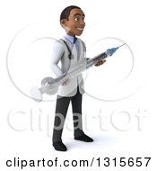 Clipart Of A 3d Young Black Male Doctor Facing Right And Holding A Giant Vaccine Syringe Royalty Free Illustration