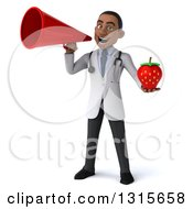 Clipart Of A 3d Young Black Male Nutritionist Doctor Holding A Strawberry And Using A Megaphone Royalty Free Illustration
