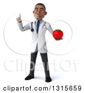 Clipart Of A 3d Young Black Male Nutritionist Doctor Holding Up A Finger And A Tomato Royalty Free Illustration