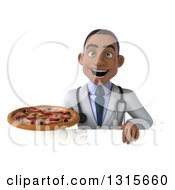 Clipart Of A 3d Young Black Male Doctor Holding A Pizza Over A Sign Royalty Free Illustration