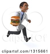 Clipart Of A 3d Young Black Male Doctor Sprinting To The Right With A Double Cheeseburger Royalty Free Illustration