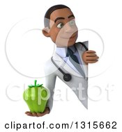 Clipart Of A 3d Young Black Male Nutritionist Doctor Holding A Green Bell Pepper Around A Sign Royalty Free Illustration