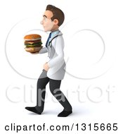 Clipart Of A 3d Young Brunette White Male Nutritionist Doctor Walking To The Left And Holding A Double Cheeseburger Royalty Free Illustration