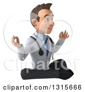 Clipart Of A 3d Young Brunette White Male Doctor Facing Slightly Right And Meditating Royalty Free Illustration