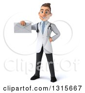 Clipart Of A 3d Young Brunette White Male Doctor Holding An Envelope Royalty Free Illustration