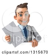 Clipart Of A 3d Young Brunette White Male Doctor Holding An Envelope Over A Sign Royalty Free Illustration