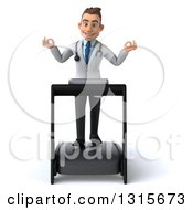 Clipart Of A 3d Young Brunette White Male Doctor Walking And Meditating On A Treadmill Royalty Free Illustration