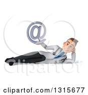Clipart Of A 3d Young Brunette White Male Doctor Resting On His Side And Holding An Email Arobase At Symbol Royalty Free Illustration