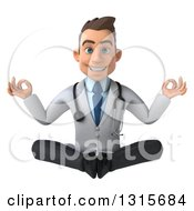 Clipart Of A 3d Young Brunette White Male Doctor Meditating Royalty Free Illustration