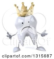 Clipart Of A 3d Unhappy Crowned Tooth Character Shrugging Royalty Free Illustration