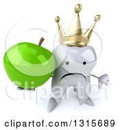 Clipart Of A 3d Unhappy Crowned Tooth Character Holding Up A Thumb Down And A Green Apple Royalty Free Illustration