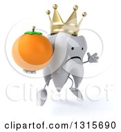 Clipart Of A 3d Unhappy Crowned Tooth Character Facing Slightly Right Jumping And Holding A Navel Orange Royalty Free Illustration