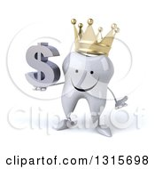 Clipart Of A 3d Happy Crowned Tooth Character Shrugging And Holding A Dollar Symbol Royalty Free Illustration
