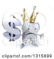 Clipart Of A 3d Unhappy Crowned Tooth Character Holding Up Thumb Down And A Dollar Symbol Royalty Free Illustration