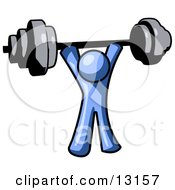 Blue Man Holding A Barbell Above His Head