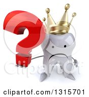 Clipart Of A 3d Unhappy Crowned Tooth Character Holding Up A Question Mark Royalty Free Illustration