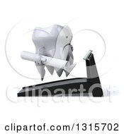 Clipart Of A 3d Unhappy Tooth Character Facing Right Holding Plans And Running On A Treadmill Royalty Free Illustration